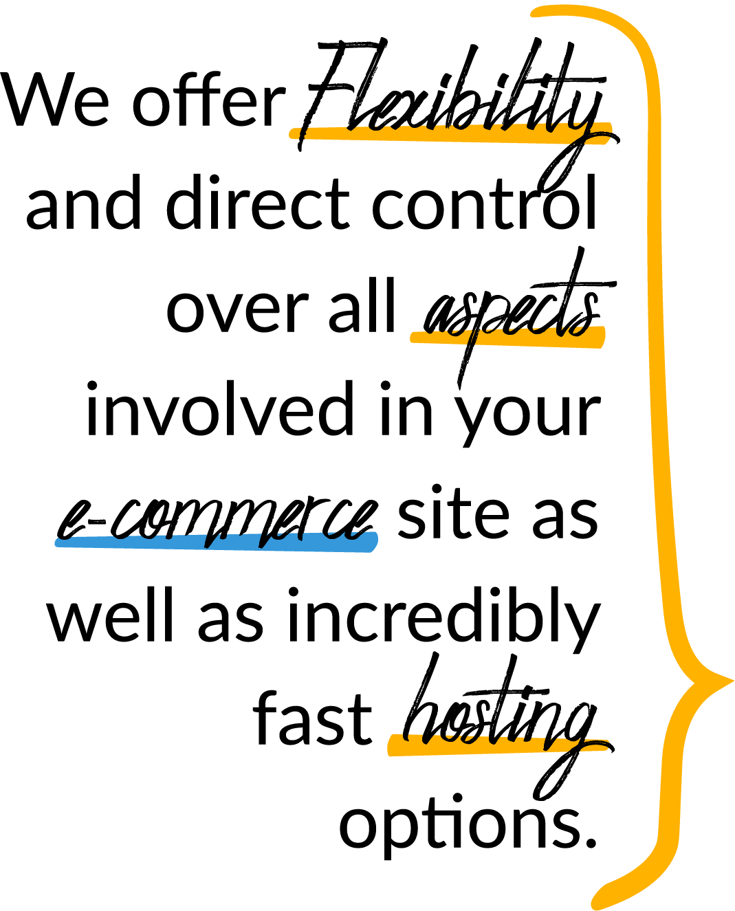 We offer flexibility and direct control over all aspects involved in your e-commerce site as well as incredibly fast hosting options